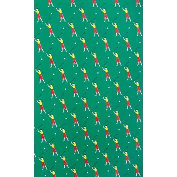 Geschenkpapier; 70 x 100 cm; Golfspieler; grün-rot-gelb-weiß; Offsetpapier einseitig bedruckt; Bogen, einmal gelegt