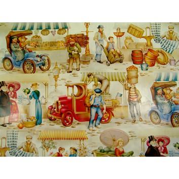 Geschenkpapier - Sonderpreis; 70 x 100 cm, gerollt; Marktleben Biedermeierzeit; beige-blau-türkis-braun-grün; Offset, glatt; Bögen gerollt