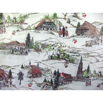 Geschenkpapier; 70 x 100 cm; Schwarzwaldidylle; weiß-rot-braun-grün; Offsetpapier einseitig bedruckt; Bogen, einmal gelegt