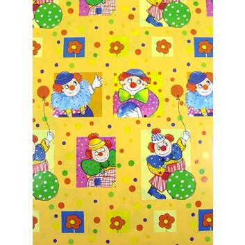 Geschenkpapier; 70 x 100 cm; Kindermotiv: Clown; blau-rot-gelb-grün-pink; Offsetpapier einseitig bedruckt; Bogen, einmal gelegt