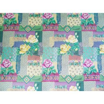 Geschenkpapier; 70 x 100 cm; Rosenblüten-Mustermix; rosa-gelb-grün-lila; Offsetpapier einseitig bedruckt; Bogen, einmal gelegt