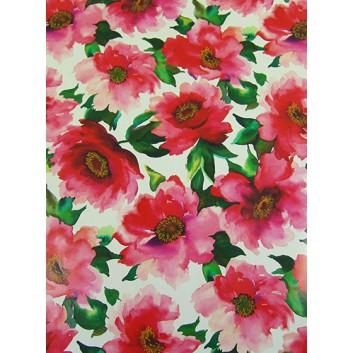 Geschenkpapier; 70 x 100 cm; Blumen; rot-grün; Offsetpapier einseitig bedruckt; Bogen, einmal gelegt