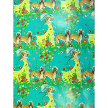 Geschenkpapier; 70 x 100 cm; elegante Frau mit Hund; gelb-rot-grün-braun-mint; Offsetpapier einseitig bedruckt; Bogen, einmal gelegt
