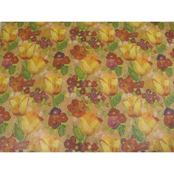Geschenkpapier; 70 x 100 cm; Blumenmotive; gelb-rot-grün-orange; Kraftpapier, braun-matt, enggerippt; Bogen einmal gelegt