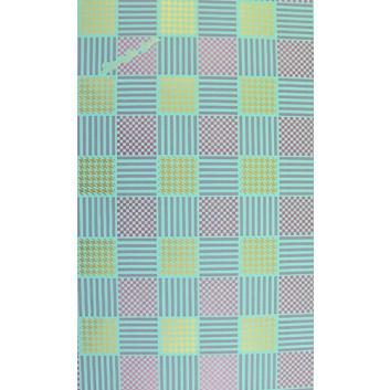 Geschenkpapier; 70 x 100 cm; Grafikmotiv, Quadrate; mint-pink-gold-lila; Offsetpapier einseitig bedruckt; Bogen, einmal gelegt