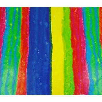 Geschenkpapier; 70 x 100 cm; Querstreifen; regenbogenfarben; gelb-blau-rot-grün; Offsetpapier, glatt; Bogen einmal gelegt