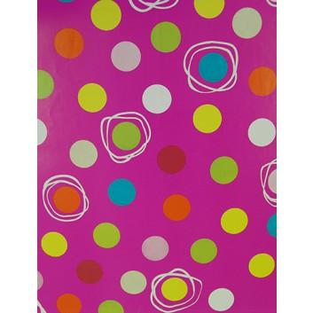 Geschenkpapier; 50 x 70 cm; Bälle verschiedenfarbig; pink-orange-gelb; Offsetpapier einseitig bedruckt; Bogen, einmal gelegt
