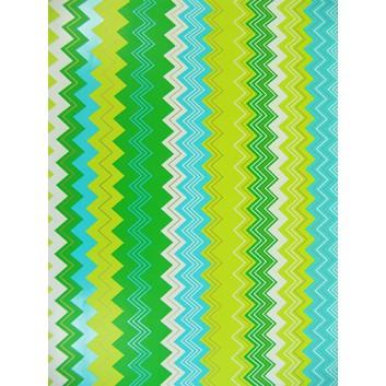 Geschenkpapier; 50 x 70 cm; Zickzackmuster; grün-hellgrün-hellblau-weiß; Offsetpapier einseitig bedruckt; Bogen, einmal gelegt