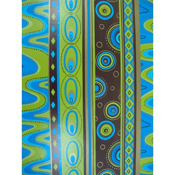 Geschenkpapier; 50 x 70 cm; Retromuster; blau-hellgrün-braun; Offsetpapier einseitig bedruckt; Bogen, einmal gelegt