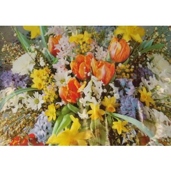 Lack-Geschenkpapier, extrafest; 70 x 100 cm; Fotomotiv: Frühlingsblumen; bunt; Lackpapier,extrastark-hochglänzend,glatt; Bogen einmal gelegt