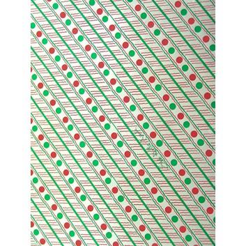 Geschenkfolie; 50 x 70 cm; Streifen und Punkte im Querformat; silber-rot-grün; Glanzfolie, glatt; Bogen einmal gelegt