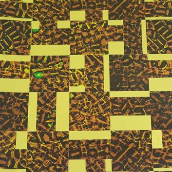 Geschenkfolie; 50 x 70 cm; grafische Rechtecke, Wurzelholzmaserung; braun-gold; Glanzfolie, glatt; Bogen einmal gelegt; Rückseite: uni-braun