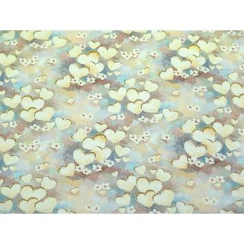 Geschenkpapier - Sonderpreis; 70 x 100 cm, gerollt; Herzen und Blumen auf Pastell; pastellfarben; Offset, glatt; Bögen gerollt