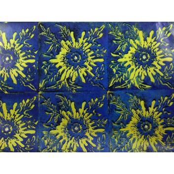 Geschenkpapier - Sonderpreis; 70 x 100 cm, gerollt; Blume -Abstract-; gelb-blau-schwarz; Offset, glatt; Bögen gerollt