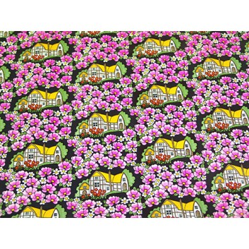 Geschenkpapier - Sonderpreis; 70 x 100 cm, gerollt; Häuseridylle im Blumenmeer; pink-weiss-rot-schwarz; Offset, glatt; Bögen gerollt