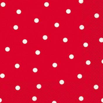 HomeFashion Servietten; 33 x 33 cm; Punkte; weiß auf rot; 211036; 3-lagig; 1/4-Falz (quadratisch); Zelltuch