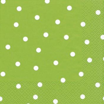 HomeFashion Servietten; 33 x 33 cm; Punkte; weiß auf hellgrün; 211102; 3-lagig; 1/4-Falz (quadratisch); Zelltuch