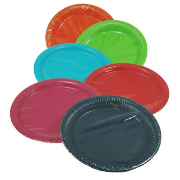 Pappteller; Ø 22,8 cm; uni / diverse; verschiedene Farben; Hartpappe; rund