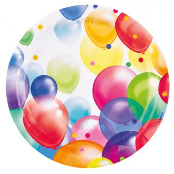 amscan Pappteller; Ø 22,8 cm; Seifenblasen/Luftballons; bunt; Hartpappe; rund; Ideal für Party und Kindergeburtstag.