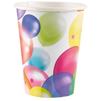amscan Pappbecher; 200 ml; Seifenblasen/Luftballons; bunt; Hartpappe spezialbeschichtet; Gesamtfüllvolumen: 266 ml