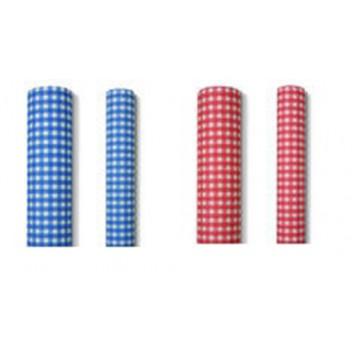 Paper + Design Tischtuch-Rolle; 80 cm x 10 m; Karo; rot oder blau; 9080.; alle 2,5m perforiert zum Abreißen; Breite x Länge