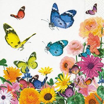 Paper + Design Cocktail-Servietten; 25 x 25 cm; Summers day: Schmetterlinge; bunt; 100275; 3-lagig; 1/4-Falz (quadratisch); Zelltuch
