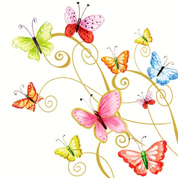 Braun & Company Servietten; 33 x 33 cm; Frühlingswind: Schmetterlinge; bunt; 11012; 3-lagig; 1/4-Falz (quadratisch); Zelltuch