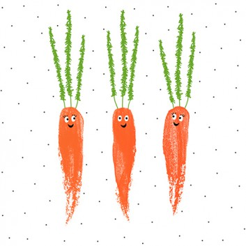 Braun & Company Servietten; 33 x 33 cm; Happy Carrots; weiß; 18301; 3-lagig; 1/4-Falz (quadratisch); Zelltuch