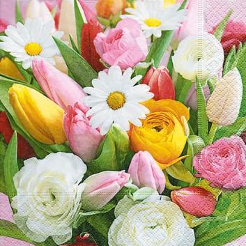Paper + Design Servietten; 33 x 33 cm; Colourful greetings: Fotomotiv Tulpen; weiß-gelb-rosa-grün; 200238; 3-lagig; 1/4-Falz (quadratisch)