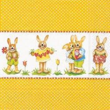 Paper + Design Servietten; 33 x 33 cm; Little bunnies; 21239; 3-lagig; 1/4-Falz (quadratisch); Zelltuch