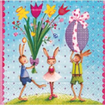 Paper + Design Servietten; 33 x 33 cm; Easter party; 21403; 3-lagig; 1/4-Falz (quadratisch); Zelltuch