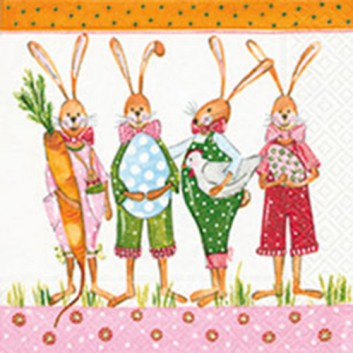Paper + Design Servietten; 33 x 33 cm; Ready for Easter; bunt auf weiß; 21911; 3-lagig; 1/4-Falz (quadratisch); Zelltuch
