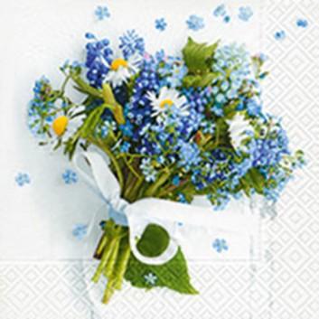 Paper + Design Servietten; 33 x 33 cm; Per voi; blau-grün auf weiß; 21912; 3-lagig; 1/4-Falz (quadratisch); Zelltuch