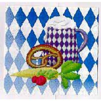 Servietten; 33 x 33 cm; bayerisch Raute+Brezn und Maß/Gemüse; 56192; 3-lagig; 1/4-Falz (quadratisch); Zelltuch