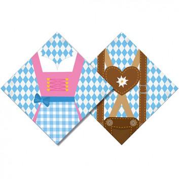 amscan Servietten; 33 x 33 cm; Bayerisch Raute mit Dirndl / Lederhose; weiß-blau-braun-pink; 688895; 3-lagig; 1/4-Falz (quadratisch); Zelltuch