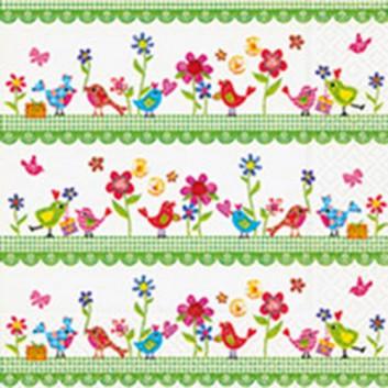 Paper + Design Servietten; 33 x 33 cm; Bird family; bunt auf weiß; LN0710; 3-lagig; 1/4-Falz (quadratisch); Zelltuch