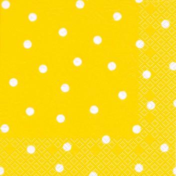 HomeFashion Servietten; 33 x 33 cm; Punkte; weiß auf gelb; 211035; 3-lagig; 1/4 Falz (quadratisch); Zelltuch