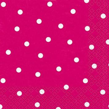 HomeFashion Servietten; 33 x 33 cm; Punkte; berry: weiß auf pink; 211217; 3-lagig; 1/4-Falz (quadratisch); Zelltuch