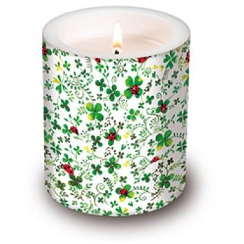 Paper + Design Dekor-Kerze/Windlicht; Ladybugs on clover; Durchmesser 10,5 cm/Höhe 11,8