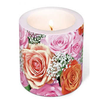 Paper + Design Dekor-Kerze/Windlicht; Bridal rose: Rosenblüten; rosa-apricot-weiß-rot; Ø 9 cm, Höhe 10 cm; rund