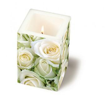 Paper + Design Dekor-Kerze/Windlicht; White roses (Rosen); weiß; 8 x 8 x 12 cm; Fotomotiv: Rosen, weiß