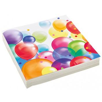 amscan Servietten; 33 x 33 cm; Seifenblasen/Luftballons; bunt; 9900323; 3-lagig; 1/4-Falz (quadratisch); Zelltuch