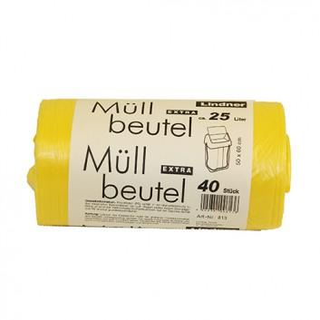 Lindner Müllsack; 25 Liter; gelb; HDPE, extrastark; 50 x 60 cm; Breite x Höhe; Rolle a 40 Säcke