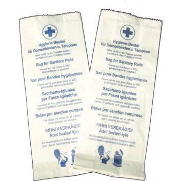 Hygienebeutel mit blauem Aufdruck; 12 + 5 x 28 cm (B x H); aus Papier