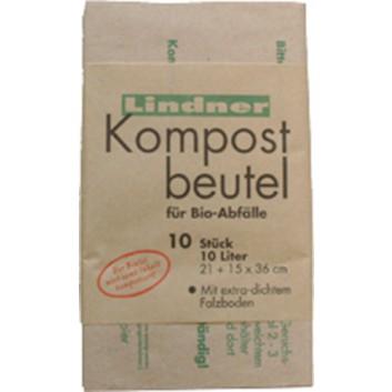 Lindner Kompostbeutel für Bio-Abfälle; 10 Liter; natur, bedruckt; Papier; 21 + 15 x 36 cm; Breite + Falte x Höhe; Pack a 10 Säcke