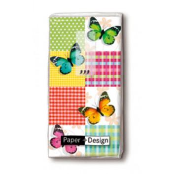 Paper + Design Taschentücher mit Design; Butterflies & squares; 01315; 22 x 21 cm; 1/8 gefalzt auf 11 x 5,5 cm