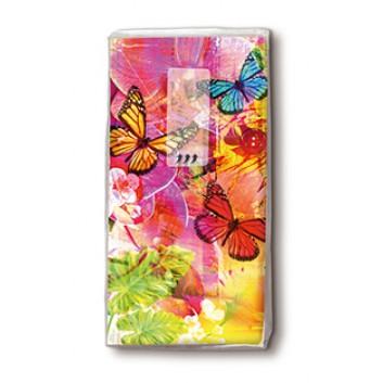 Paper + Design Taschentücher mit Design; World of colours; 01366; 22 x 21 cm; 1/8 gefalzt auf 11 x 5,5 cm; 4-lagig, Zelltuch; chlorfrei gebleicht