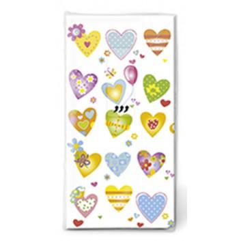 Paper + Design Taschentücher mit Design; Farbige Herzen; 01417; 22 x 21 cm; 1/8 gefalzt auf 11 x 5,5 cm; 4-lagig, Zelltuch; chlorfrei gebleicht
