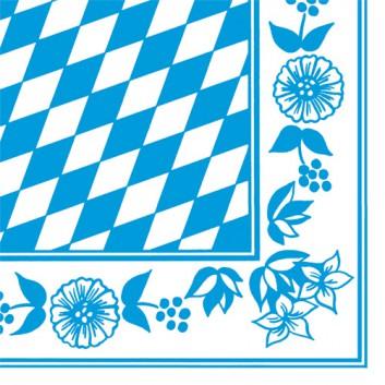 Duni Servietten; 40 x 40 cm; Bayrisch Raute; weiß-blau; Dunisoft; 1/4-Falz (quadratisch); Vlies / Airlaid