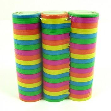 Luftschlangen, neon; uni; neon, sortiert: pink, grün, gelb, orange; Stange = 18 Segmente; schwer entflammbar
